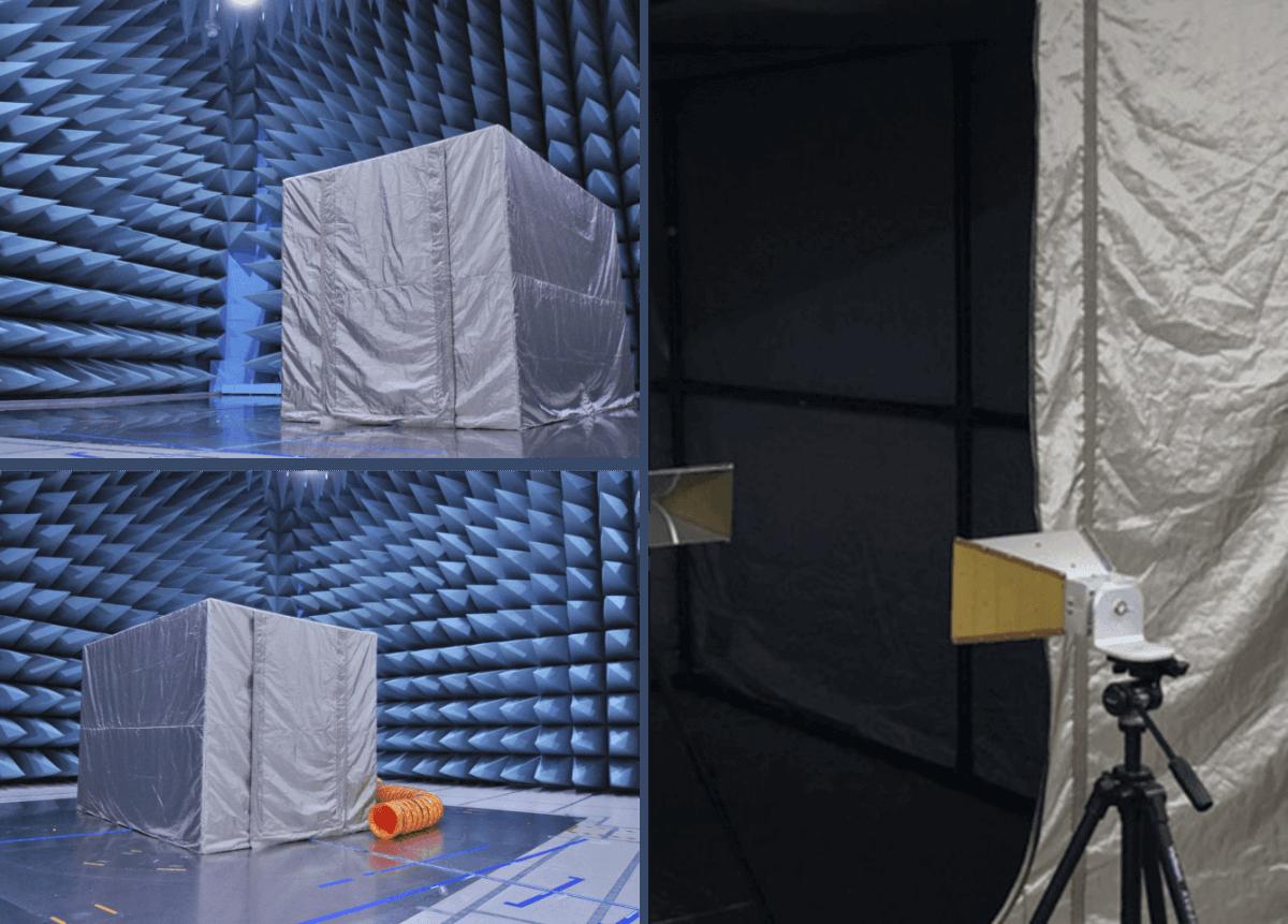 シールドテントイキソルラボの測定の様子。専門機関で各周波数に応じた適切な試験方法で測定をしていますので安心してお使いいただけます。