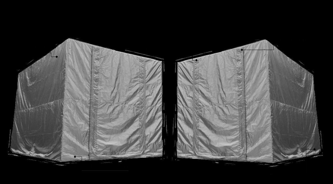 シールドテント イキソルラボの各部詳細の紹介です。高性能な生地に加え数々の経験から積んだノウハウが詰まった縫製技術。また最も電波が漏れやすい開口部についてもシールド専用ファスナーや当社だけのシールド専用マジックテープも標準搭載しています。