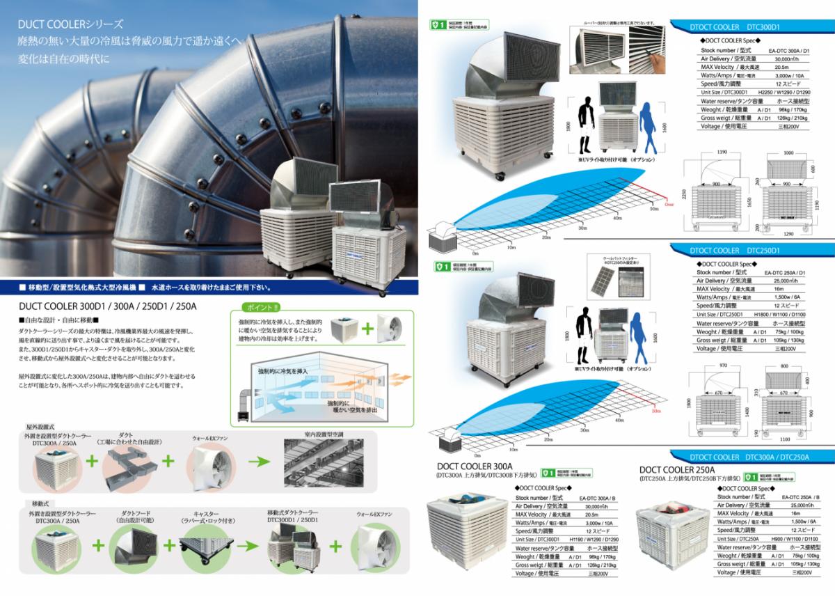 ダクトクーラーは排熱の出ない業務用冷風機です。